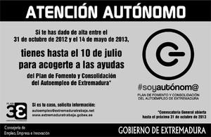 Los autónomos registrados entre el 31/10/2012 y el 14/05/2013 disponen hasta el 10 de julio para solicitar las ayudas del Plan de Autoempleo