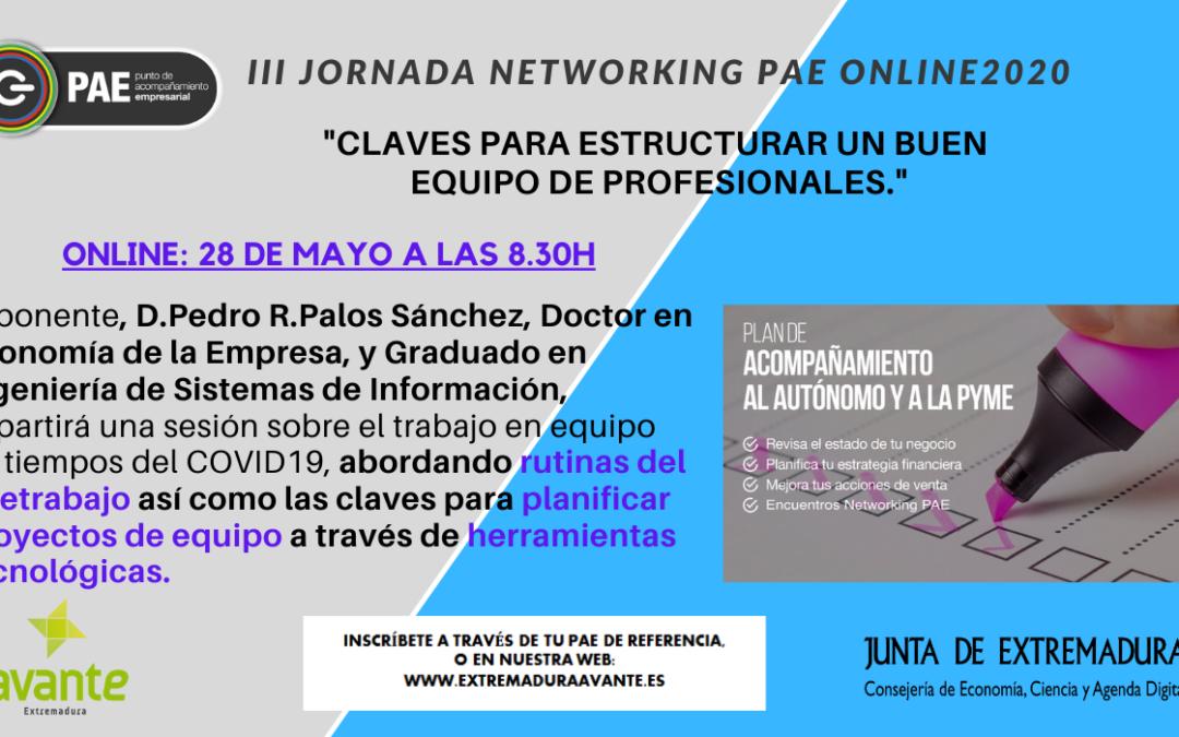 Extremadura Avante celebrará la III Jornada Networking PAE 2020 con claves para estructurar un buen equipo de profesionales