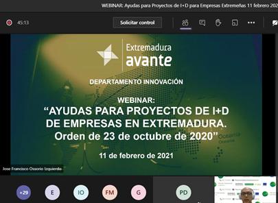 Éxito de participación en el Webinar de Ayudas a la I+D para empresas