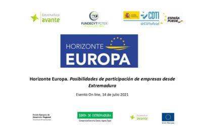 Sesiones on-line Horizonte Europa, EIC y Taller Práctico de Propuestas